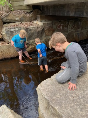 Harvey and Zion wading in Elm Brook, Lijah watching