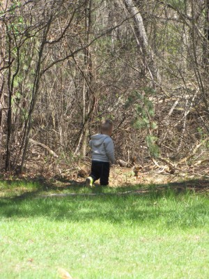 Lijah walking into the woods