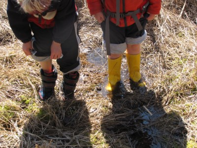 Harvey's and Ollie's booted feet in the marshy grass