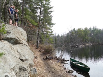 the canoe by the big rock at Fawn Lake