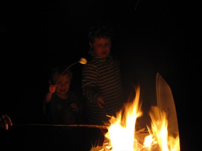 Harvey and Zion toasting marshmallows over a fire