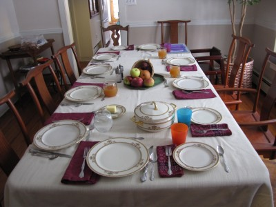 Grandma's table set for Thanksgiving dinner