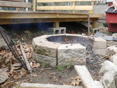 our firepit made of masonry blocks