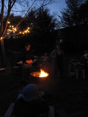 the fire in the grill and some friends