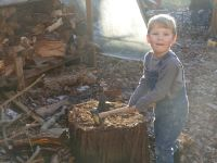 Lijah with the mallet at the firewood splitting stump