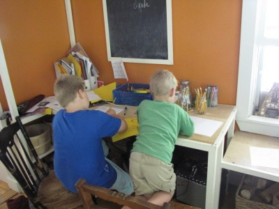 the boys working at their desk
