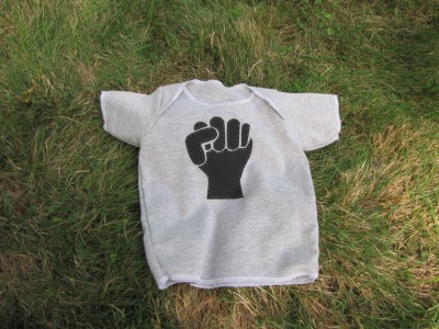 t-shirt with a raised fist