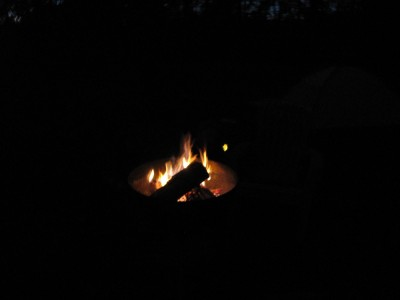 the fire and a burning marshmallow--otherwise black