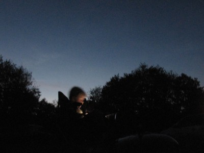 Harvey in a camp chair in the twilight, reading with a flashlight