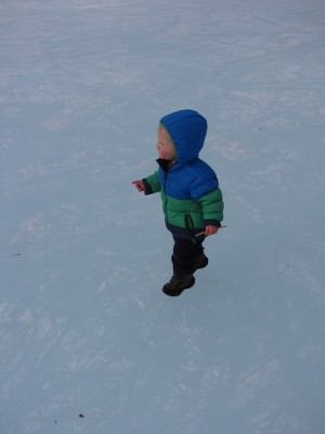 Lijah walking on the ice, looking like he's in the sky