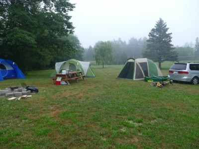 our tents in the fog