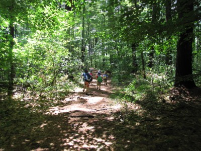 kids running down a forest path