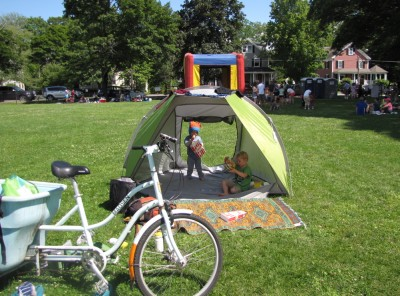 our bike, tent, and rug