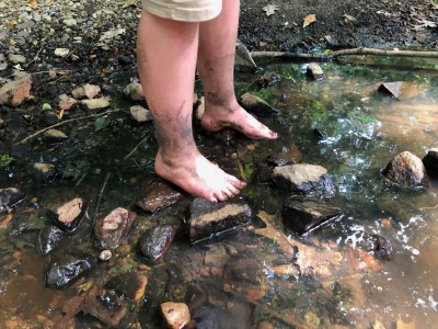 Harvey's muddy feet wading in a shallow stream