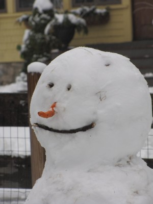 our snowman smiling