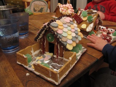 Dan's gingerbread house (with the boys' in the background)