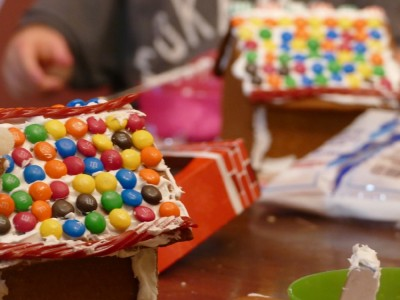 gingerbread house decoration at the kitchen table