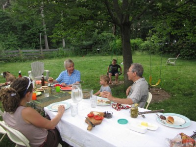 both Grandpas picnicing in the backyard
