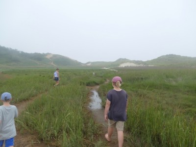Leah and the boys hiking among the marsh grass at Great Island
