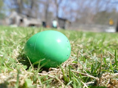 an Easter egg in the lawn