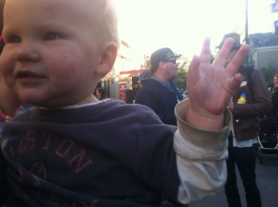 Lijah with his hand in the air