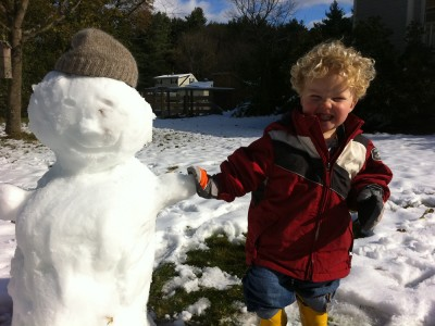 Harvey with the first snowman of winter 2011-2012