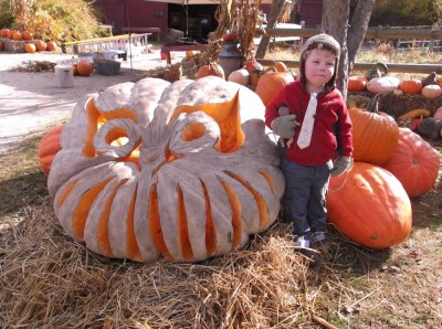 Harvey standing by an enormous jack-o-lantern