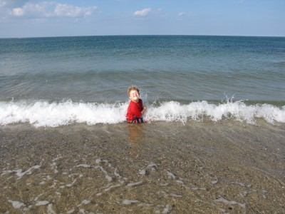 Harvey sitting in the water, turning away from a breaking wave