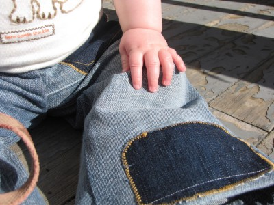 close-up of Harvey's new home-made jeans