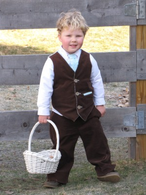 Harvey in his brown Easter suit holding his basket