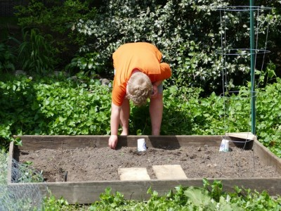 Harvey sowing seeds in the playhouse garden