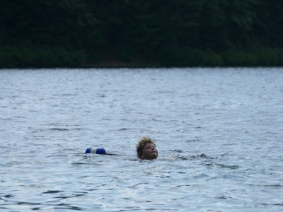 Harvey swimming in Walden Pond