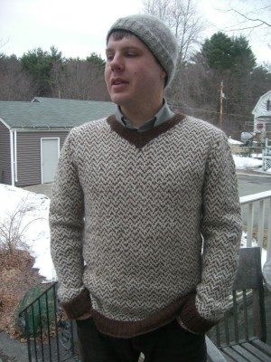 dan in herringbone sweater, close up