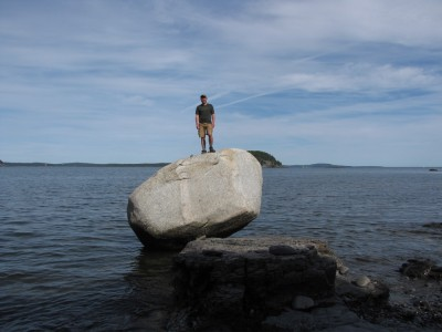 me atop the big boulder on the Shore Path