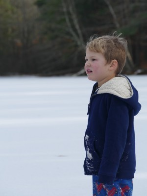 Lijah taking a pause from sliding on the ice