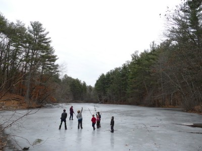 the kids on the ice of the Old Reservoir with some friends