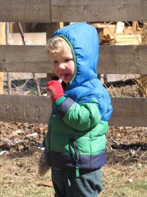Lijah eating an icicle