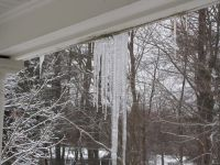 icicles hanging from the porch roof