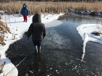 Lijah crossing a patch of clear ice by a stream