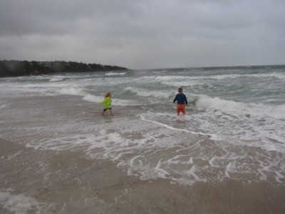 the boys playing in the waves