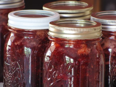 some finished strawberry jam in jars