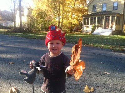 Lijah with a crown and a big big leaf