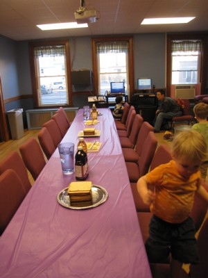 Zion at the table set for our Maundy Thursday supper