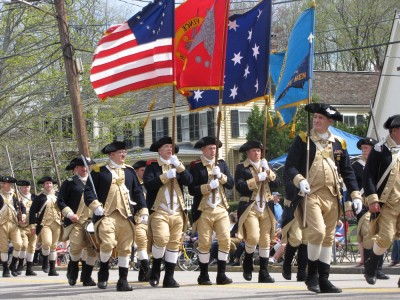 Lexington minutemen marching