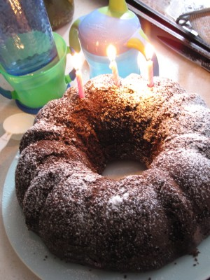 chocolate bundt cake with three candles