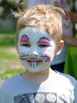 Lijah in white rabbit facepaint