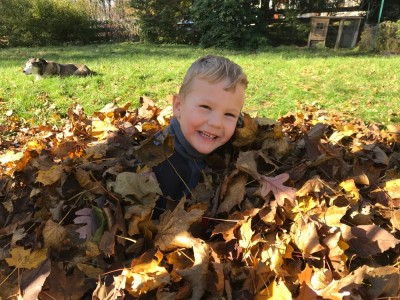 Lijah smiling in a leaf pile