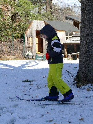 Elijah on his new cross-country skis in the yard