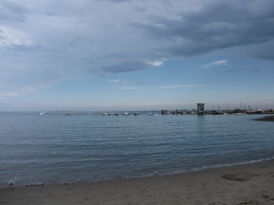 unsettled weather over the beach at Lincolnville