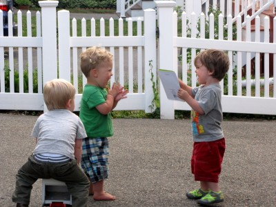 Lijah, Liam, and Henry playing in Liam's driveway